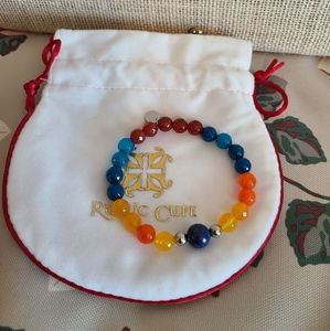 Rustic Cuff multi color bead bracelet